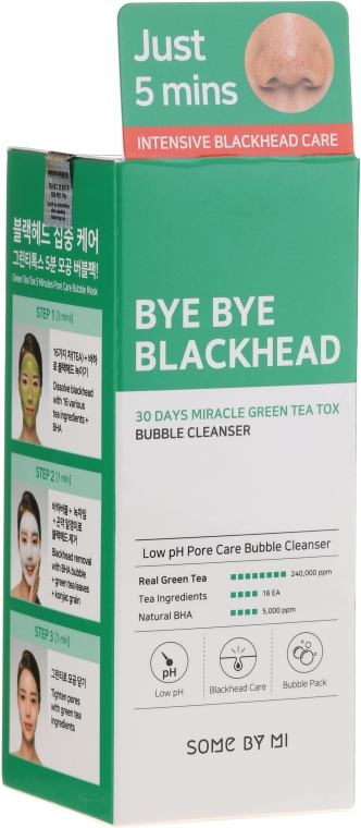 Mitesszer elleni maszk - Some By Mi Blackhead 30Days Miracle Green Tea Tox Bubble Cleanser