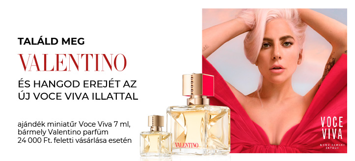 Kapj ajándék miniatűr Voce Viva-t, bármely Valentino parfüm 24 000 Ft. feletti vásárlása esetén