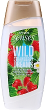 "Parfüm, Parfüméria, kozmetikum Kérmgél tusfürdő ""Eper és joghurt"" - Avon Senses Wild Strawberry Dreams Shower Creme"