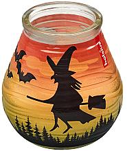 """Parfüm, Parfüméria, kozmetikum Dekoratív gyertya üvegben """"Patiolight Bat and Witch"""", 94/91 mm - Bolsius Candle"""