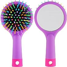 Parfüm, Parfüméria, kozmetikum Hajkefe tükörrel, lila - Twish Handy Hair Brush with Mirror Lavender Floral