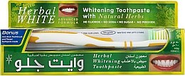 "Parfüm, Parfüméria, kozmetikum Szett ""Gyógyfüvek"" fehér-sárga - White Glo Herbal White (t/paste/100ml + t/brush/1)"