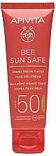 Parfüm, Parfüméria, kozmetikum Tónust adó krém-gél arcra tengeri algával és propolisszal - Apivita Bee Sun Safe Hydra Fresh Tinted Face Gel-Cream SPF50