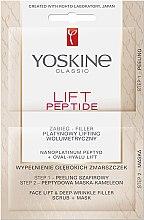Kétlépéses lifting készítmény - Yoskine Lift Peptide Face Lift and Deep Wrinkle Filler Face Scrub + Mask — fotó N1