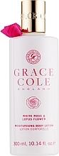 "Parfüm, Parfüméria, kozmetikum Test lotion ""Fehér rózsa és lótusz virágok"" - Grace Cole White Rose & Lotus Flower Body Lotion"