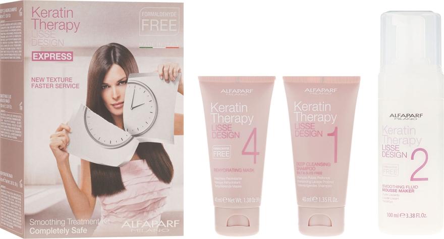 Regeneráló keratin hajkúra - Alfaparf Milano Lisse Design Keratin Therapy Smoothing Treatment Kit (shmp/40ml + moose/100ml + hair/mask/40ml)
