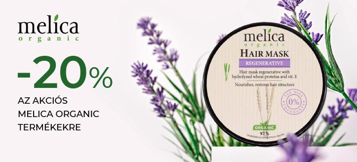 -20% kedvezmény az akciós Melica Organic termékekre. A feltüntetett ár a kedvezményt is tartalmazza