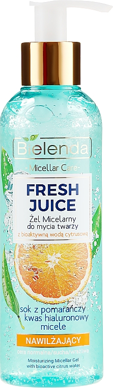 """Hidratáló micellás gél """"Narancs"""" - Bielenda Fresh Juice Micellar Gel Orange"""