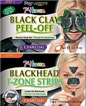 Parfüm, Parfüméria, kozmetikum Arcmaszk fekete agyaggal, csíkok orra, állra és homlokra - 7th Heaven Charcoal Duo Black Clay Peel Off
