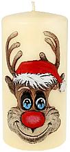 "Parfüm, Parfüméria, kozmetikum Dekoratív gyertya ""Rudolf"", krémes, 7x10 cm - Artman Christmas Candle Rudolf"
