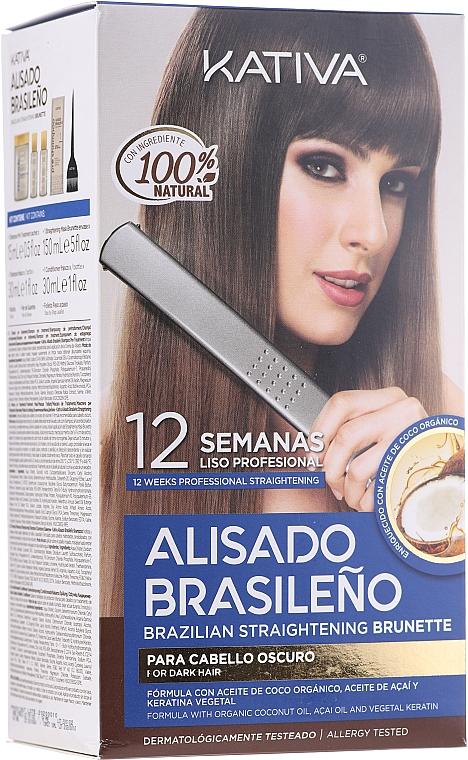 Keratin egyenesítő szett barnáknak - Kativa Alisado Brasileno Straighten Brunette (shm/15ml + mask/150ml + shm/30ml + cond/30ml + brush/1pcs + gloves/1pcs)
