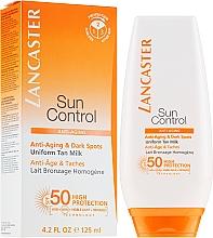 """Parfüm, Parfüméria, kozmetikum Napvédő testápoló tej """"Egyenletes barnulás"""" SPF50, pigmentfoltok ellen - Lancaster Sun Control Body Uniform Tan Milk Spf 50"""