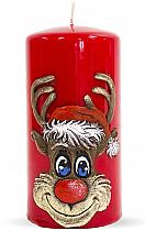 "Parfüm, Parfüméria, kozmetikum Dekoratív gyertya ""Rudolf"", piros, 7x14 cm - Artman Christmas Candle Rudolf"