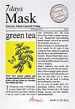 "Parfüm, Parfüméria, kozmetikum ""Zöld tea"" arcmaszk - Ariul 7 Days Mask Green Tea Sebum Control&Peeling"