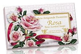 "Parfüm, Parfüméria, kozmetikum Natúr szappan ""Rózsa"" - Saponificio Artigianale Fiorentino Rosa Scented Soaps (soap/3pcsx100g)"