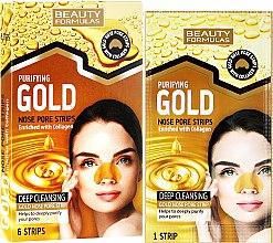 Parfüm, Parfüméria, kozmetikum Lehúzható mitesszereltávolító maszk orra - Beauty Formulas Purifying Gold Nose Pore Strips