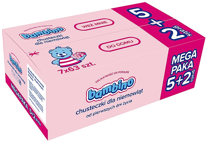 Gyermek nedves törlőkendő, 7x63 db - Bambino Wipes