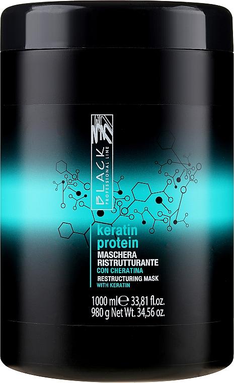 """Újjáépítő maszk sérült hajra """"Keratin fehérje"""" - Black Professional Line Keratin Protein Mask"""