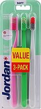 Parfüm, Parfüméria, kozmetikum Fogkefe puha, rózsaszín, zöld, szürke-narancssárga - Jordan Clean Smile Soft