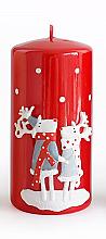 Parfüm, Parfüméria, kozmetikum Dekoratív gyertya, piros, 7x14 cm - Artman Reindeers