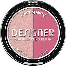 Parfüm, Parfüméria, kozmetikum Kontúrozó arcpirosító - Miss Sporty Draping Designer Duo Sculpting Blush