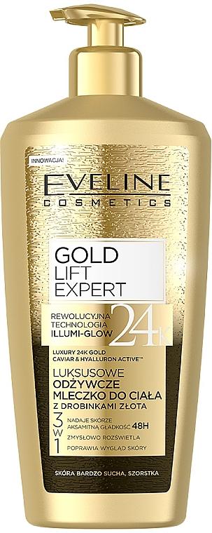 Tápláló testápoló aranyszemcsékkel - Eveline Cosmetics Gold Lift Expert 24K