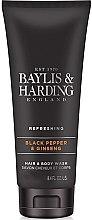 """Parfüm, Parfüméria, kozmetikum Tusfürdő és sampon """"2 az 1-ben"""" - Baylis & Harding Black Pepper & Ginseng"""