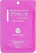 """Parfüm, Parfüméria, kozmetikum Szövet arcmaszk """"Placenta és platina nanorészecskék"""" - Mitomo Essence Sheet Mask Placenta + Platinum"""
