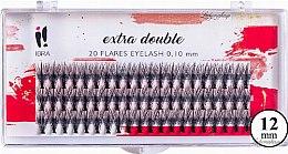 Parfüm, Parfüméria, kozmetikum Tincses műszempilla, C 0,1 mm, 12 mm - Ibra Extra Double 20 Flares Eyelash C 12 mm