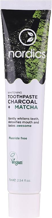 Fogfehérítő paszta szénnel és matchaval - Nordics Whitening Charcoal Matcha Tooshpaste