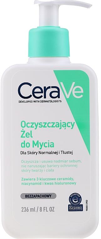 Arc- és testtisztító gél normál és zsíros bőrre - CeraVe Foaming Cleanser